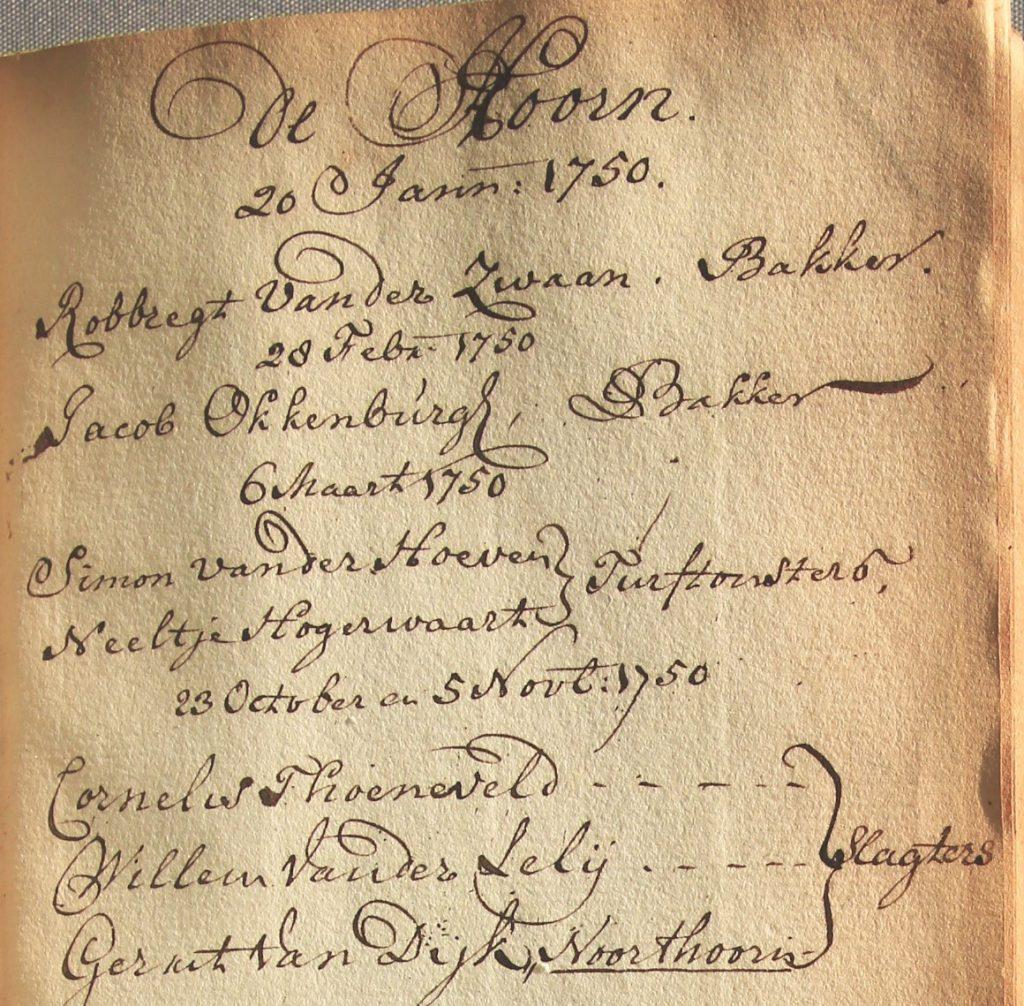 Register met namen van personen die vergunning krijgen een bepaald beroep uit te oefenen, 1750-1806, folio 84 (Archief 1, inv.nr 2502)