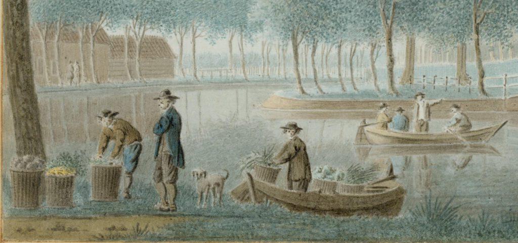 Detail van de tekening van de Oostpoort door Isaac van Ketweg, c. 1760 (TMS 58638)