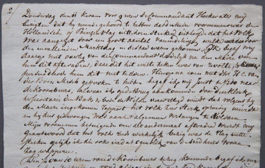 Fragment uit het verslag van Hendrik van Berckel over de omwentelingen in november 1813 (Archief 464, inv.nr 201)