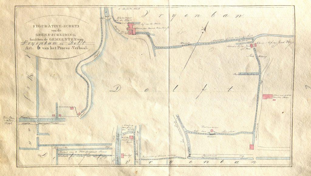 Proces-verbaal van de grensbepaling met Vrijenban voor het kadaster, 1824 (Archief 158, inv.nr 581)