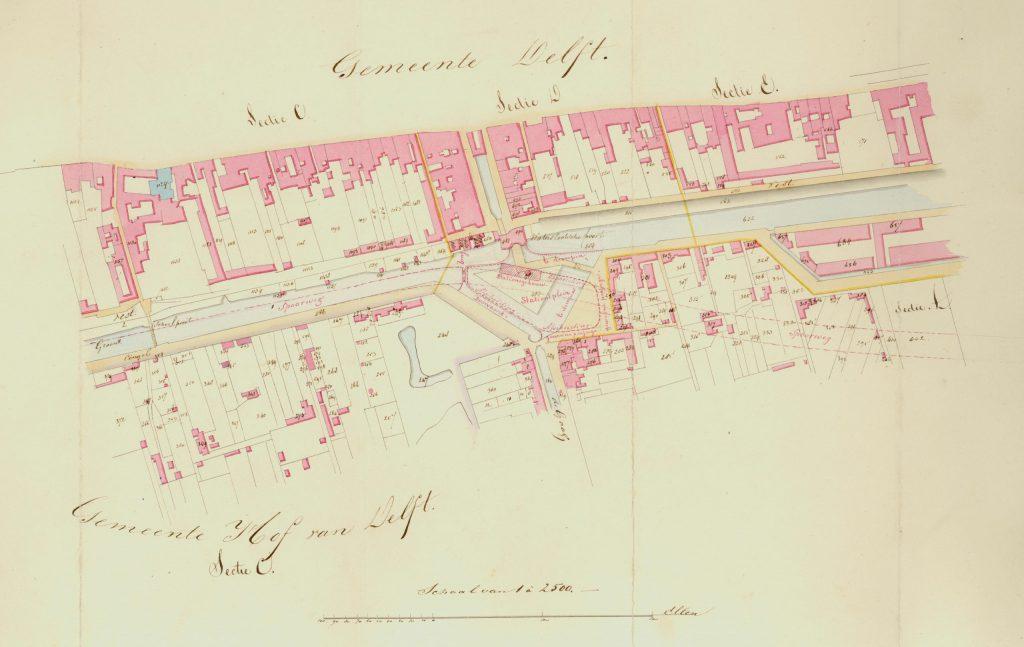 Kadasterkaart met de aanleg van de spoorlijn, ca. 1845 (TMS 1371)