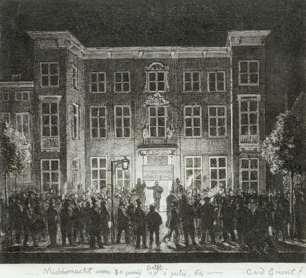 Cornelis Ouboter van der Griendt, Gravure van het afscheid van de Koninklijke Akademie, 1864 (TMS 6844)