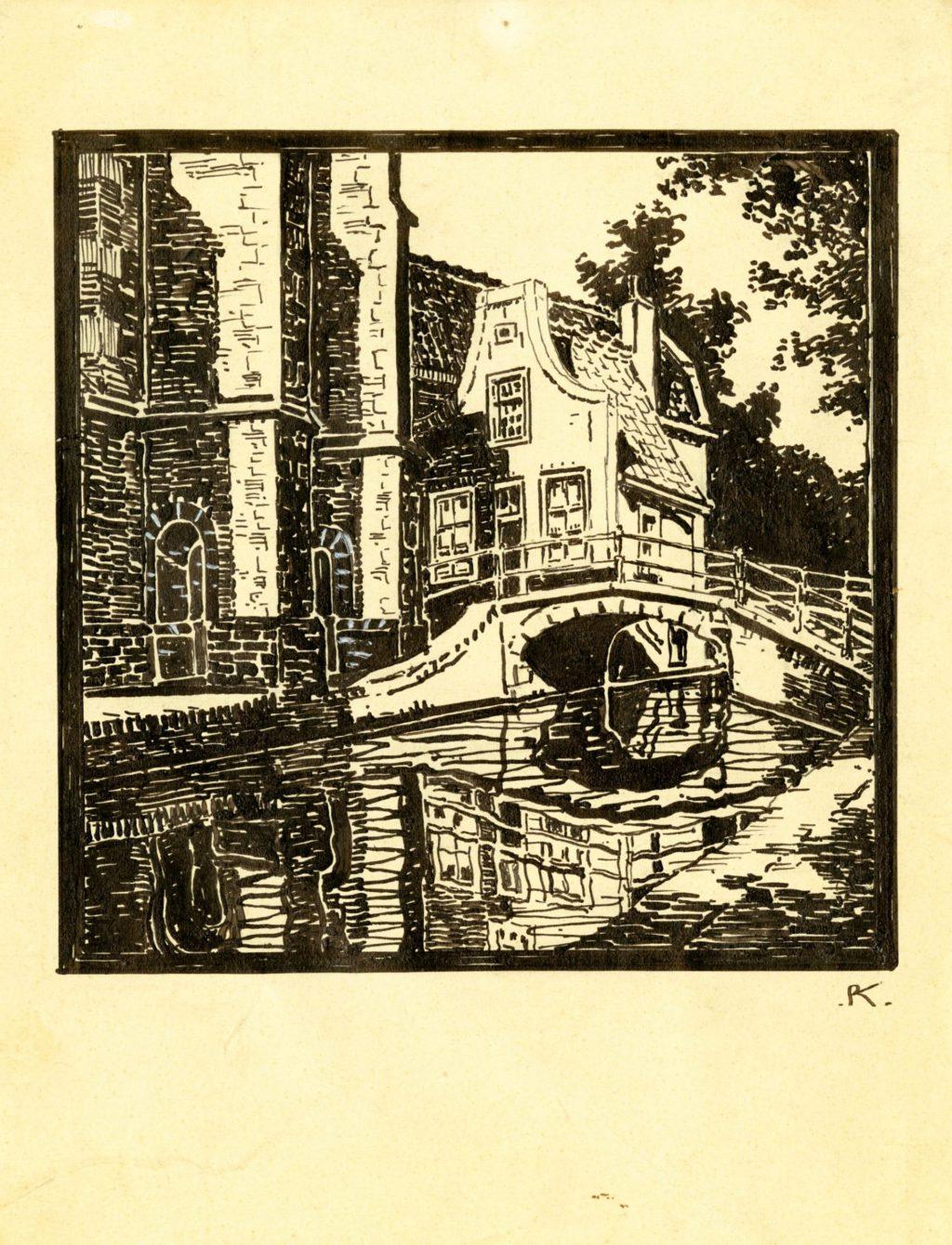 Piet Kramer, Beiaardiershuisje aan de Kerkstraat, gezien vanaf het Vrouwenregt, 1926 (TMS 125430)