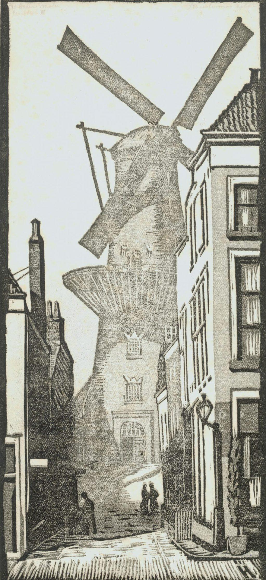 Jan Heesterman, Diverse afdrukken van eenzelfde linosnede van de Groenmolen, 1920 (TMS 68224)