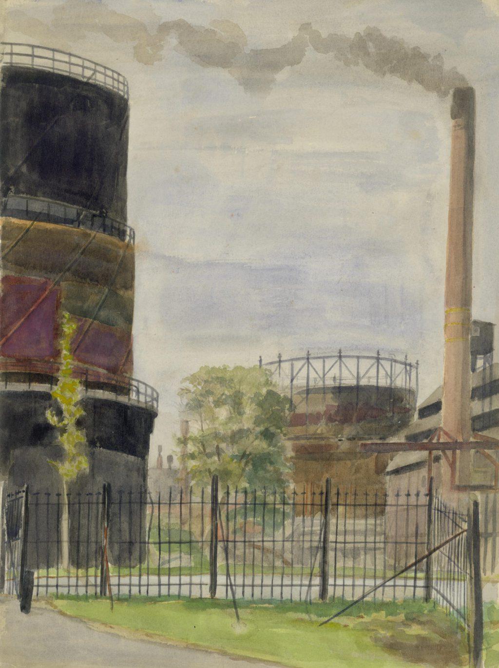 A. Tutein Nolthenius, Gashouders en fabriek aan de Asvest, ca. 1950 (TMS 67896)