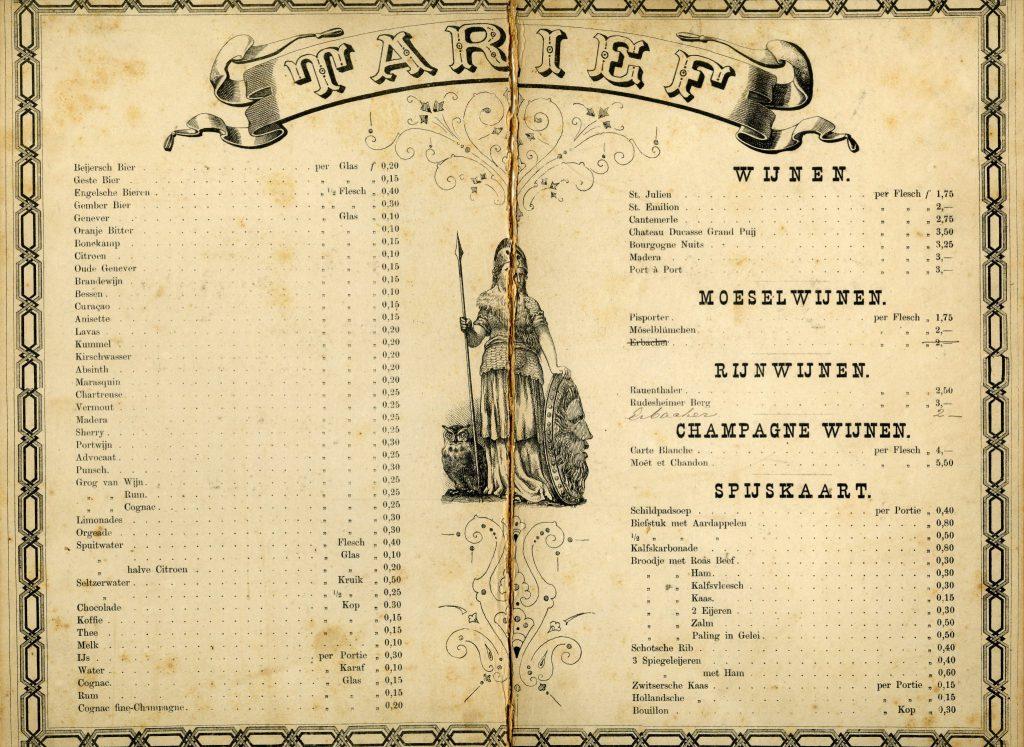 Tarievenlijst van Sociëteit Phoenix van het Delftsch Studenten Corps, 1878 (TMS 255860)