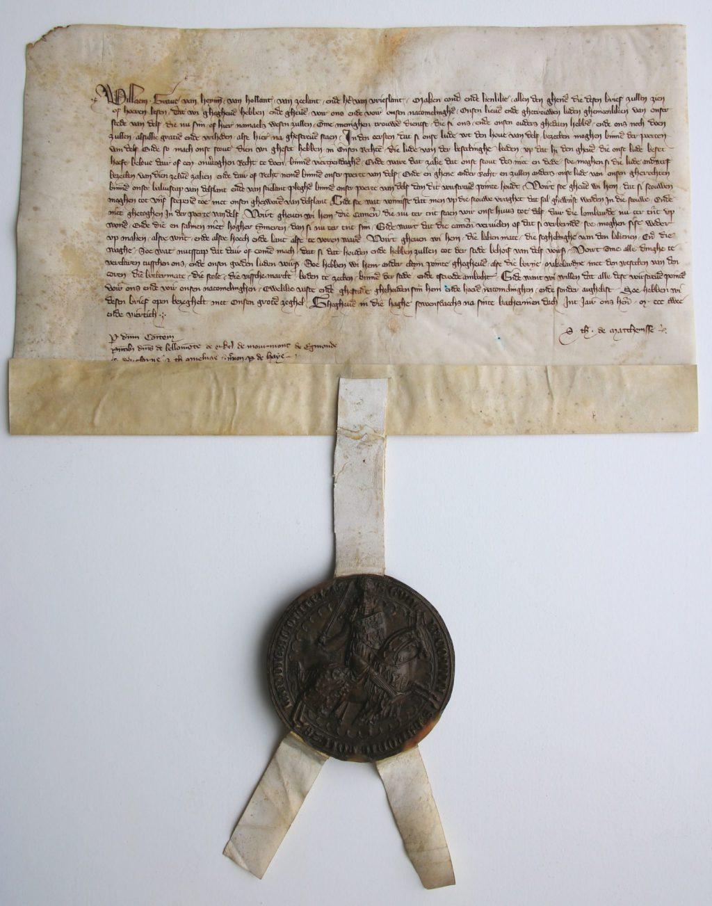 Privilege van graaf Willem IV waarin hij Delft de exploitatie van de vismarkt gunt, 27 november 1342 (Archief 1, inv.nr 6, charter 5372)