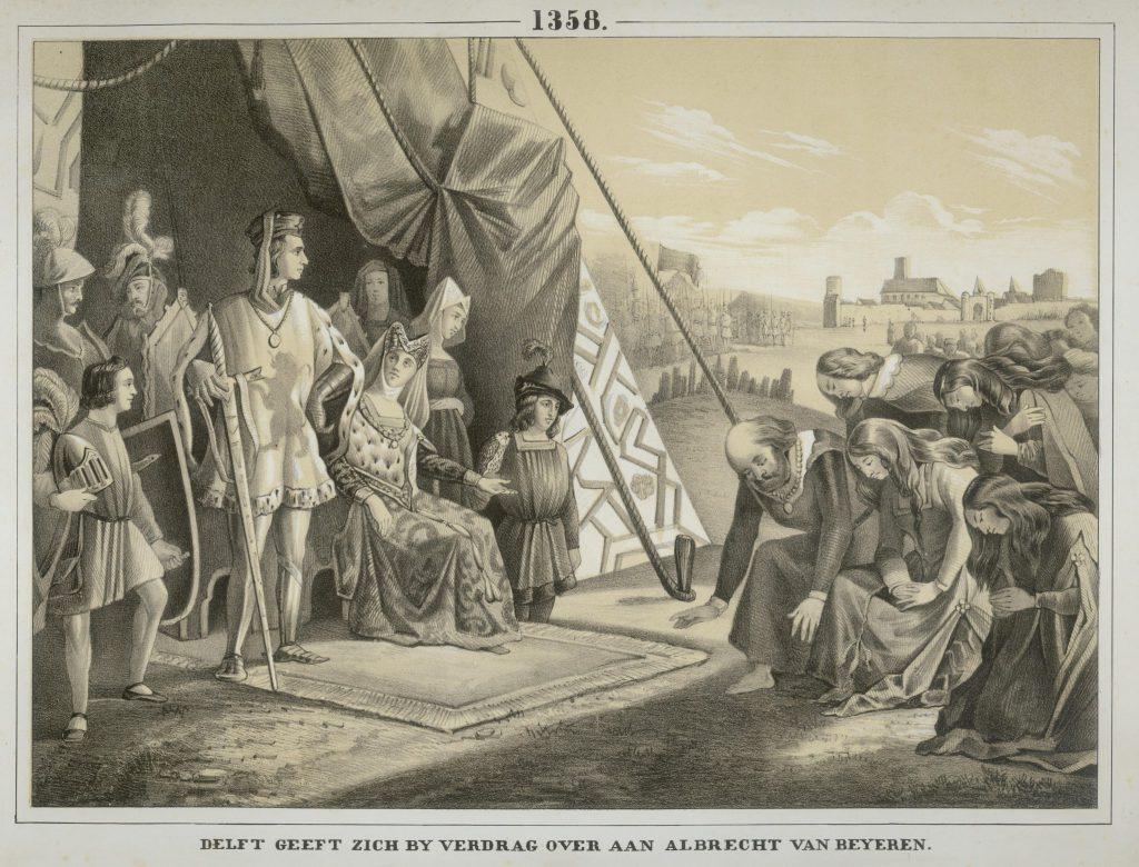 Schoolplaat uit 1856 met de overgave van Delft aan hertog Albrecht, met foutief jaartal 1358 in plaats van 1359 (TMS 75089)