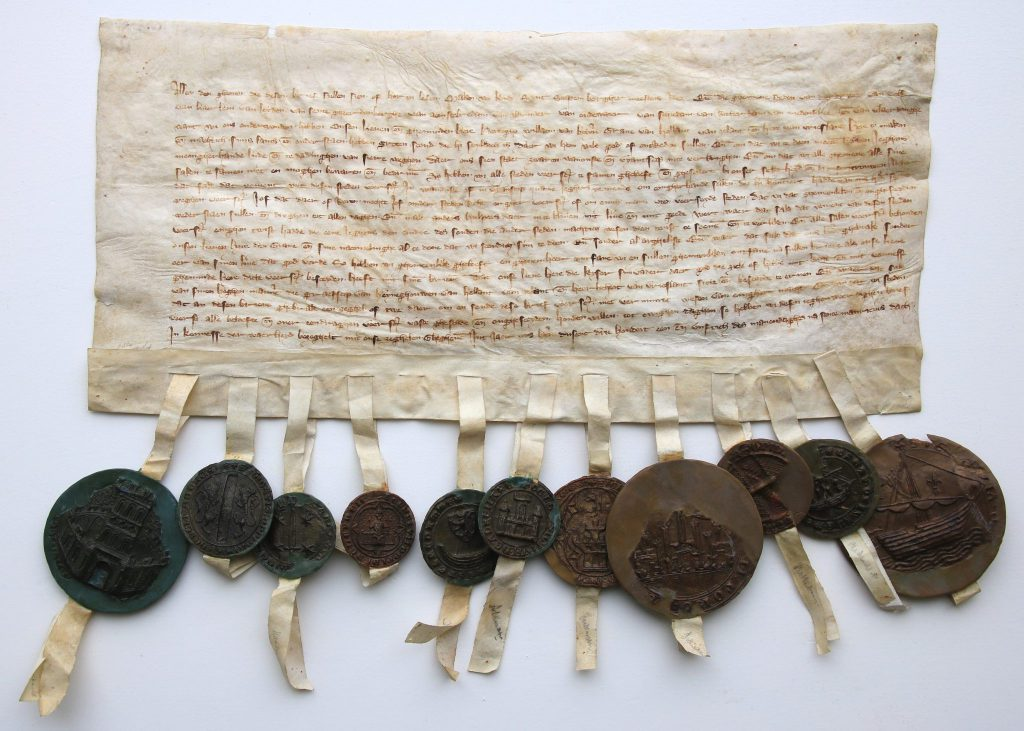 Het verbond tussen de Kabeljauwse steden, 26 september 1351 (Archief 1, inv.nr 2693, charter 10259)