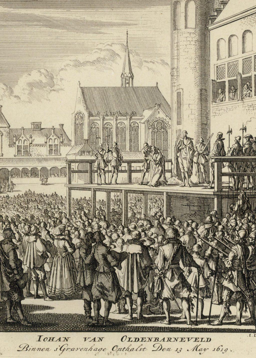 Onthoofding van Johan van Oldenbarnevelt in 1619; gravure van Jan Luyken, circa 1690 (TMS 4315)