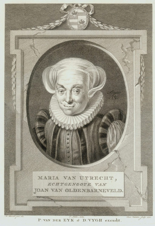 Portret van Maria van Utrecht; gravure 1771 naar schilderij van Michiel van Mierevelt (TMS 78023)
