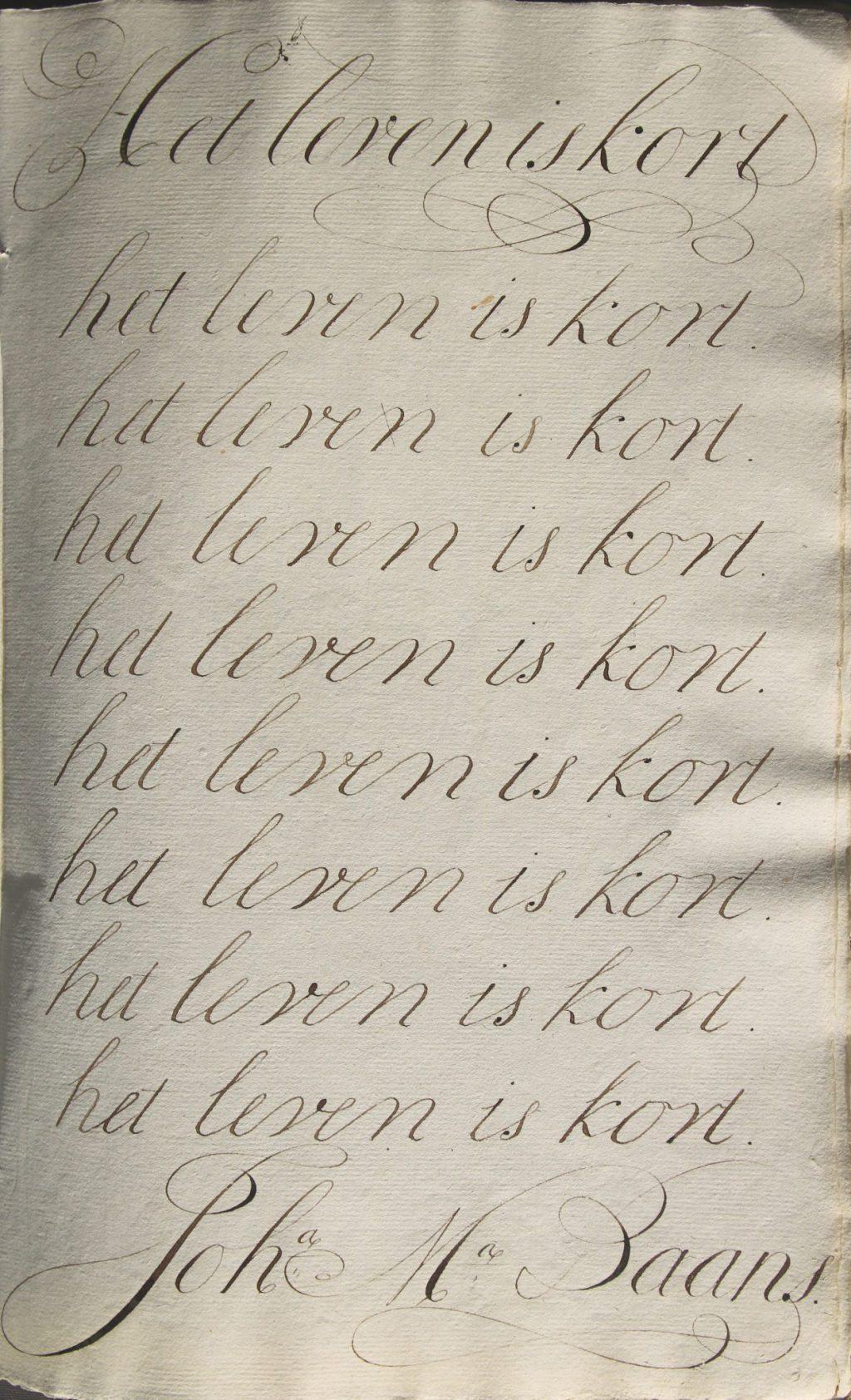 'Geschriften' van de meisjes van het Meisjeshuis, 1799 (Archief 200, inv.nr 1025)