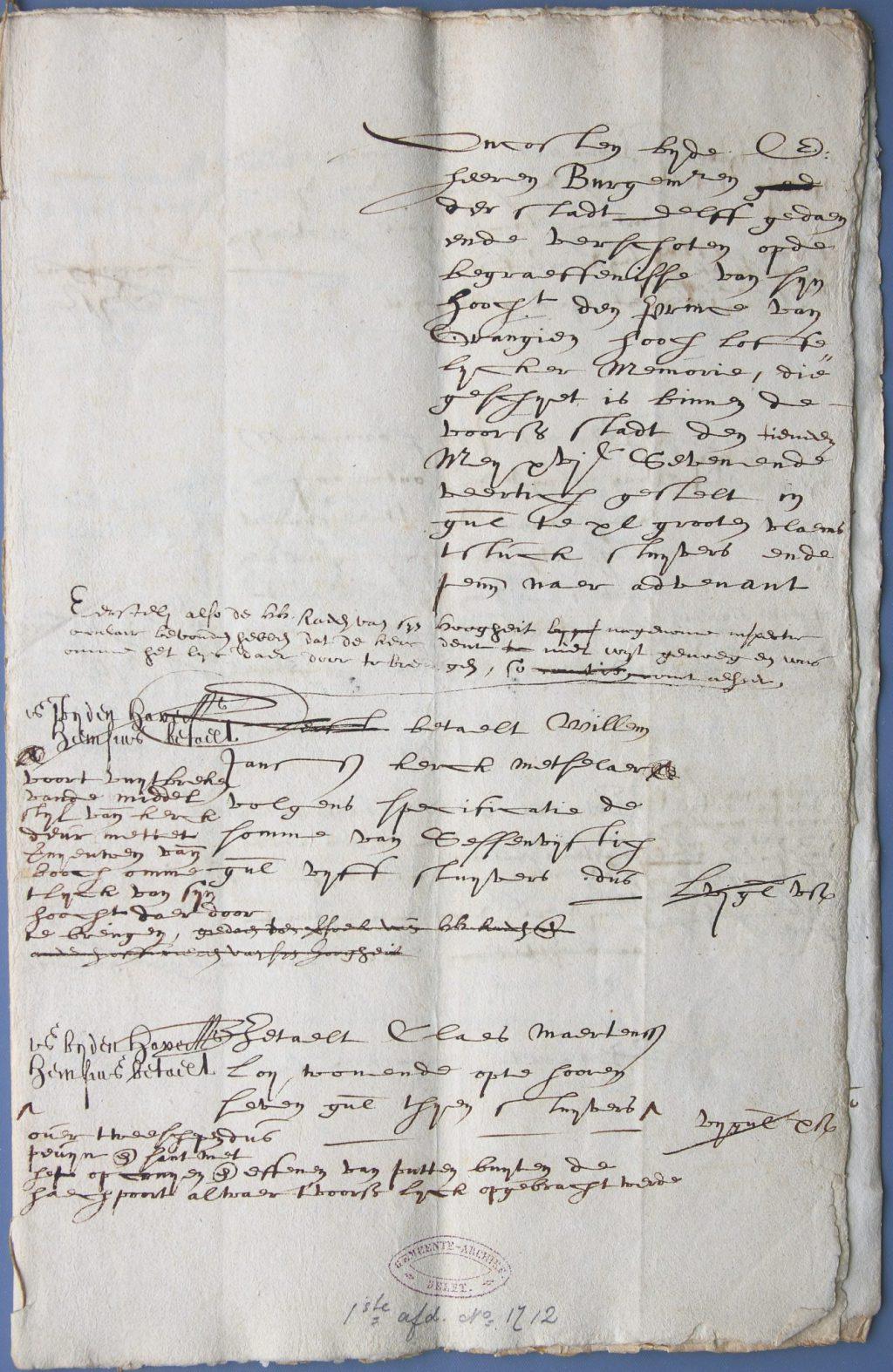 Rekening van de burgemeesters voor de uitvaart van Frederik Hendrik, 1647 (Archief 1, inv.nr 468)
