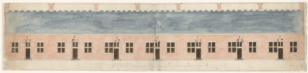 Ontwerptekening voor de gevel van het Hofje van Gratie, c. 1660. Hierop ontbreekt nog de later aangebrachte gevelsteen. (TMS 118861)