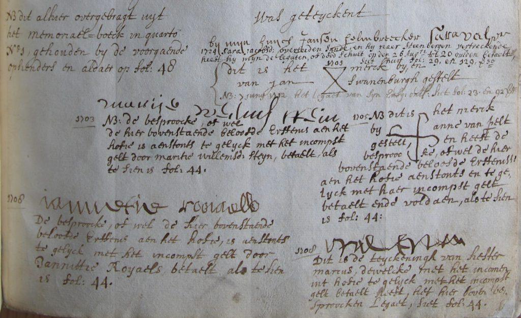 Ondertekeningen van het reglement door bewoners van het Hofje van Gratie, vanaf 1700 (Archief 211, inv.nr 170)
