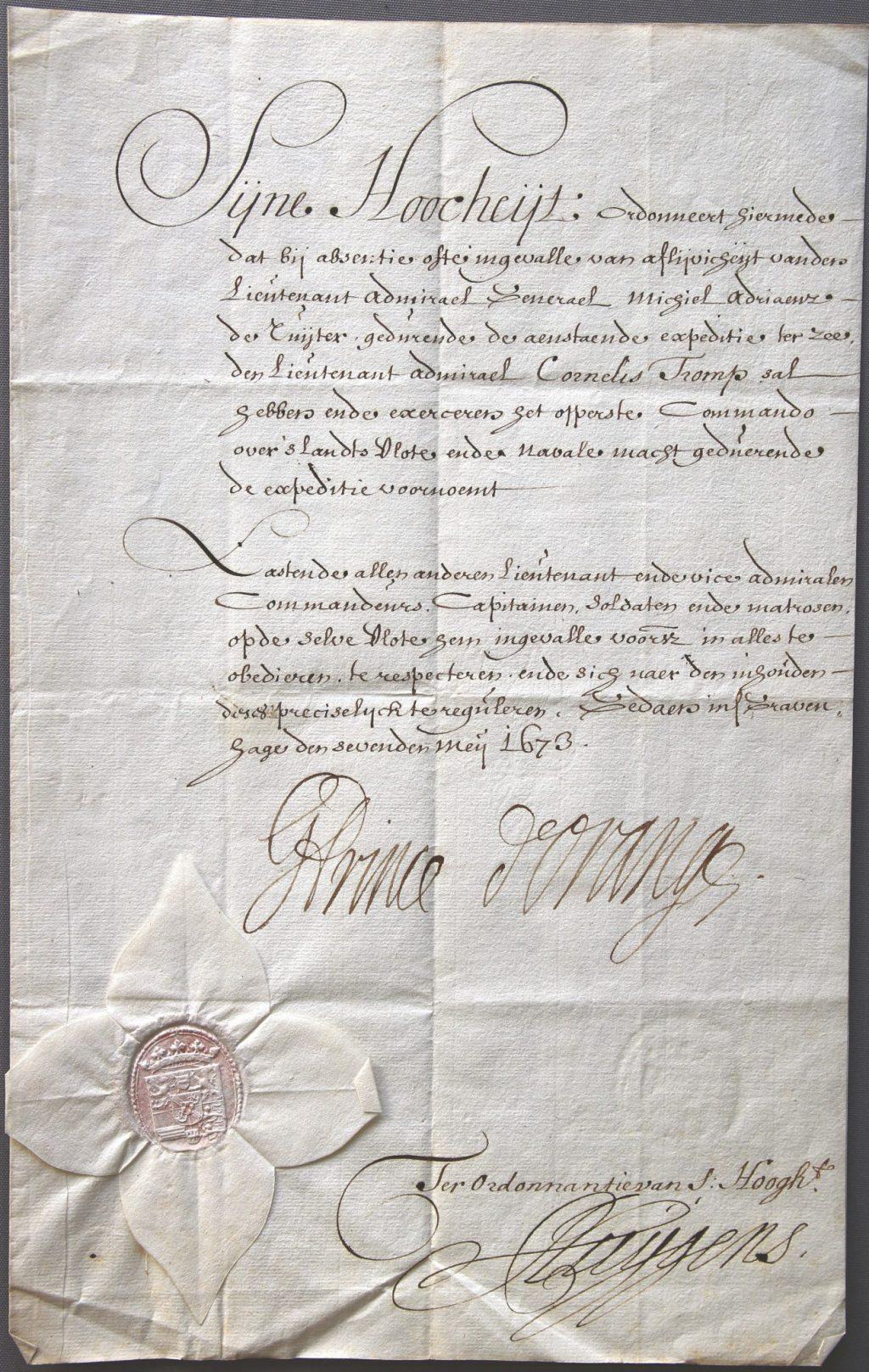 Akte waarbij Willem III aan Cornelis Tromp het opperbevel over de vloot verleent in geval van afwezigheid of overlijden van Michiel de Ruyter, 7 mei 1673 (Archief 845, inv.nr 21)
