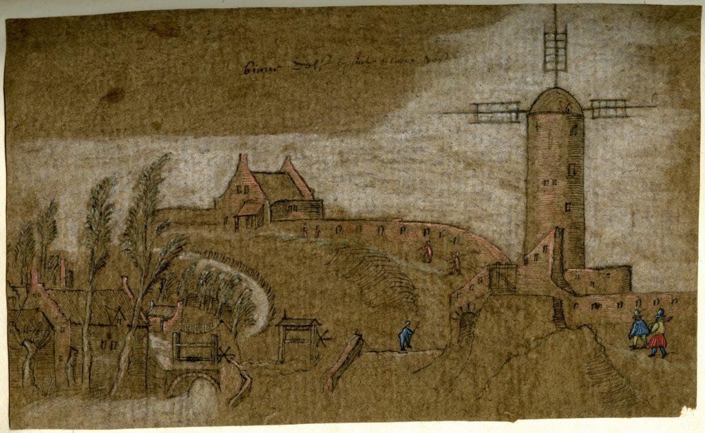 Tekening van de Duyvelsgatmolen, c. 1573 (TMS 119180)