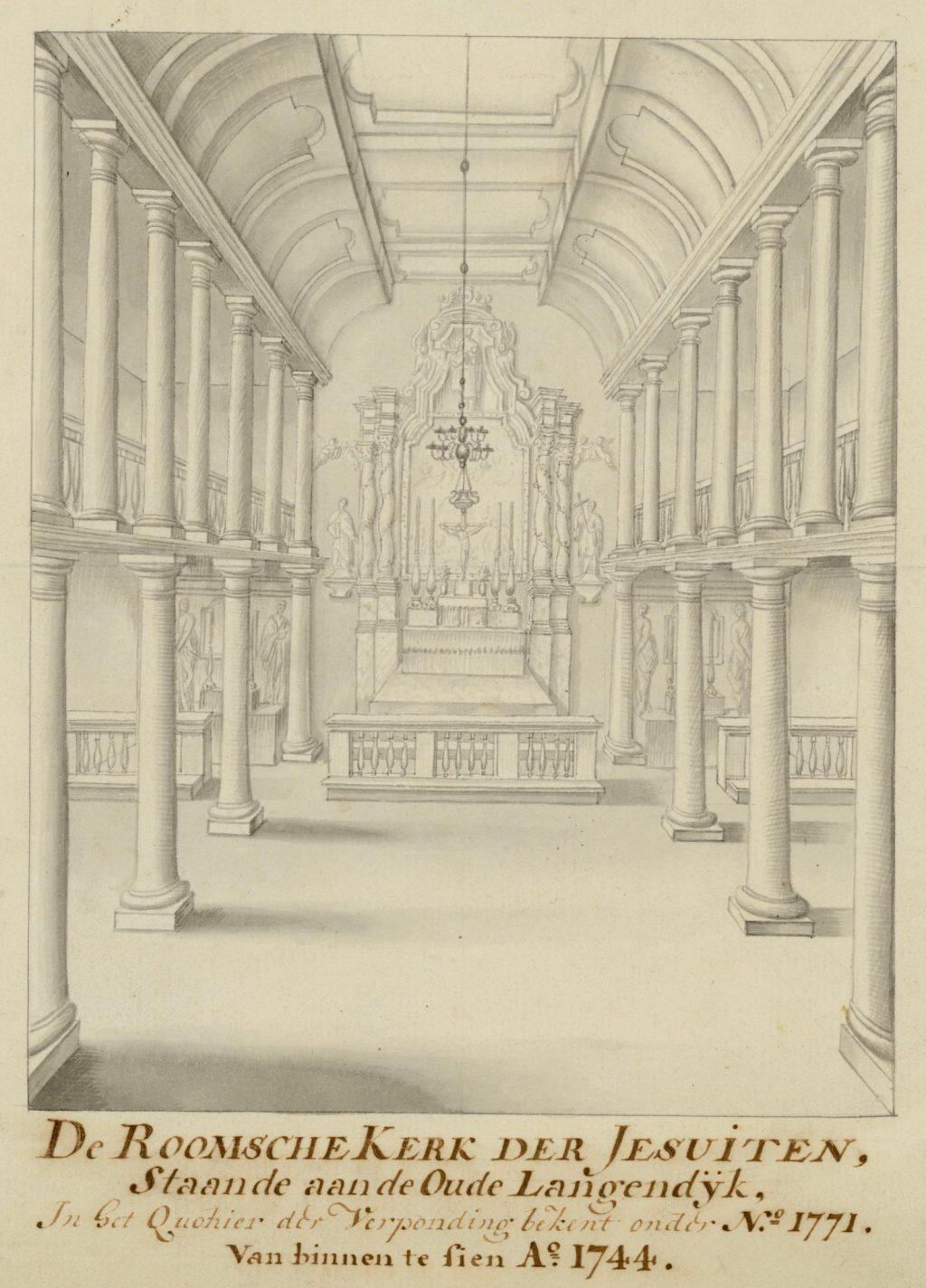 Interieur van de rooms-katholieke kerk aan de Oude Langendijk, 1744 (TMS 68878)