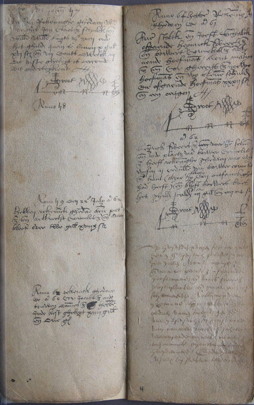 Fragmenten van een register met rekeningen van inkomsten en uitgaven van het Sint-Lucasgilde, 1537-1593 (Archief 229, inv.nr 290)