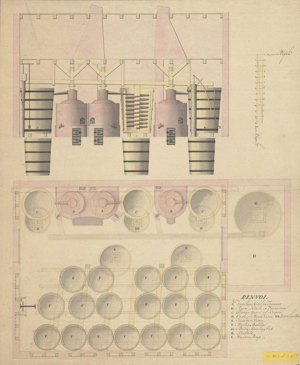 Ontwerptekening voor distilleerderij de Papegaai, 18e eeuw (TMS 114636)