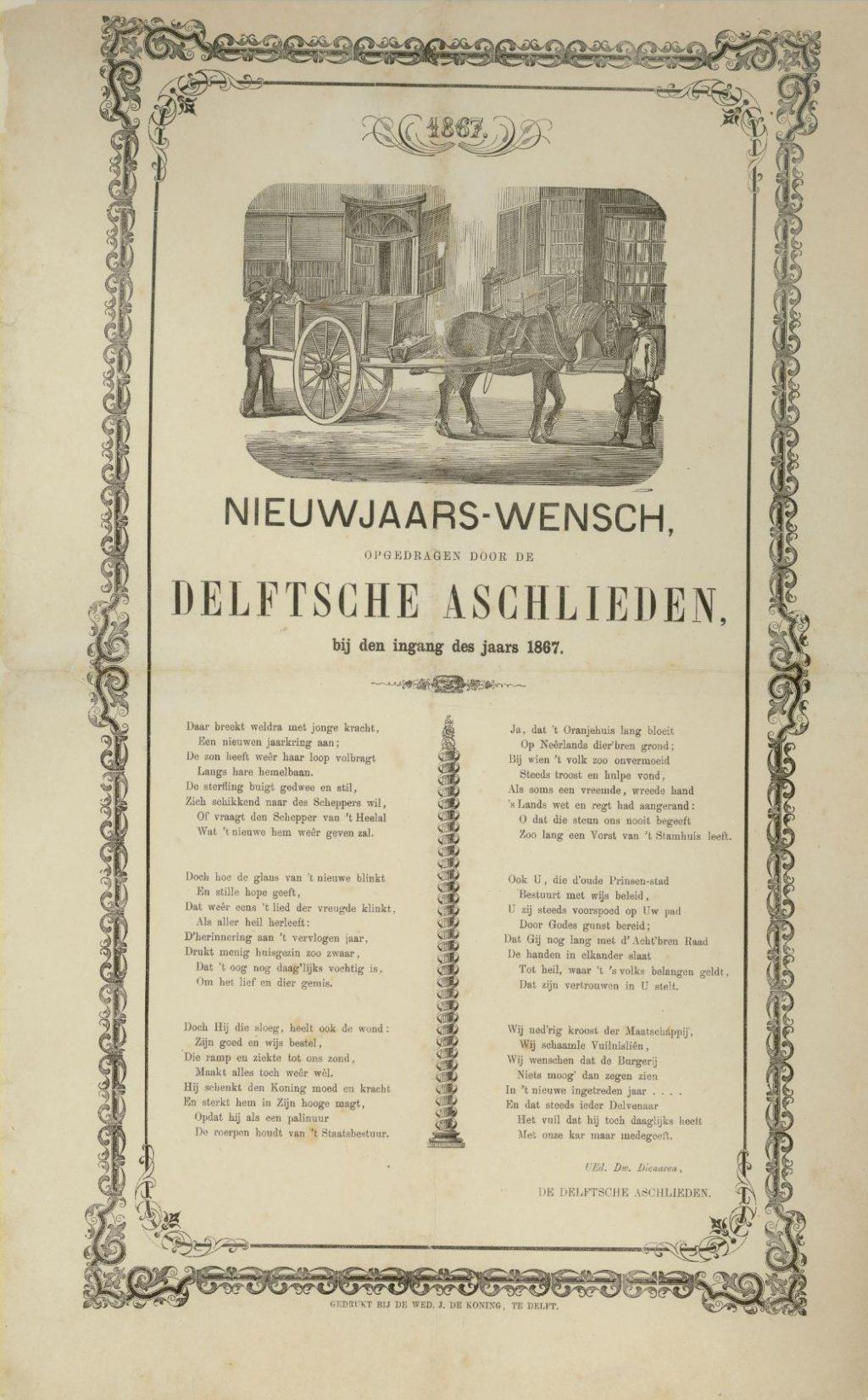 Nieuwjaarswens van de Delftse aslieden, 1867 (TMS 91547)