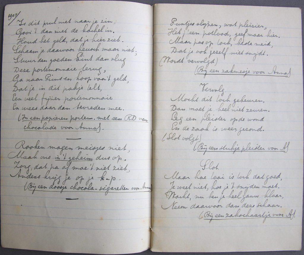 Schrift met Sinterklaasrijmpjes van Johannes de Koning (Archief 600, inv.nr 8)