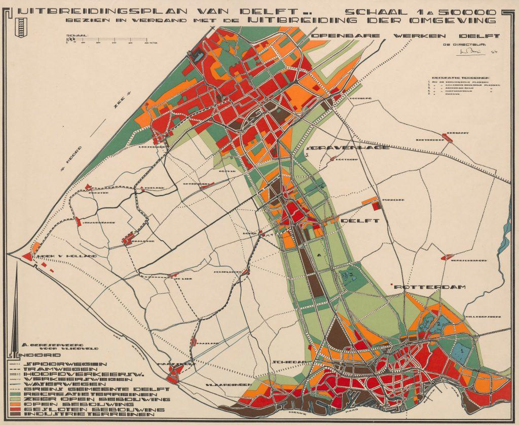 De A onder Delft op deze plattegrond markeert de plek waar het vliegveld moet komen, 1929 (TMS 119595)