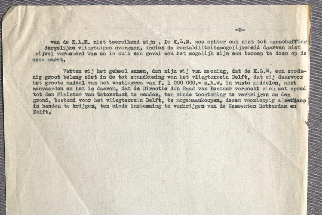 Notulen uit het KLM-dossier over een vliegveld bij Delft, 1928 (Archief 65, inv.nr 5)