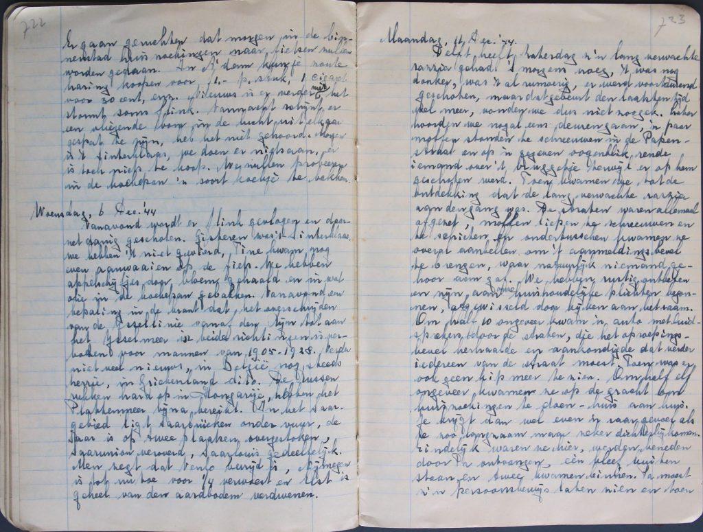 Verslag razzia in Delft in een van de dagboeken van Sara Johanna Spijker, 1944 (Archief 598, inv.nrs 554-556)