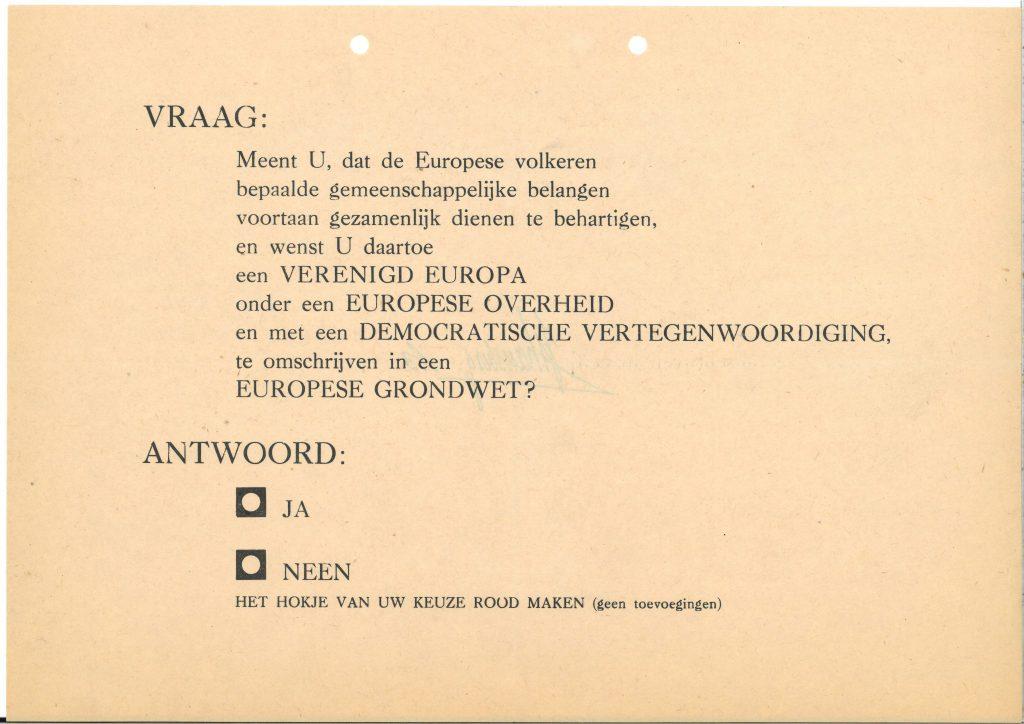 Stembiljet proefreferendum, 1952 (Archief 653, inv.nr 5663)