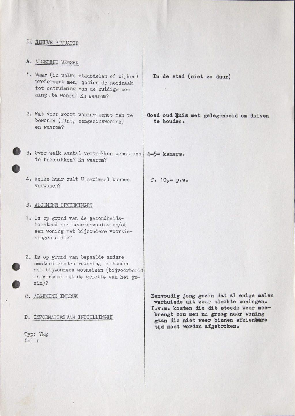 Vragenlijst Sociografisch Bureau voor Pieterstraat 41, ca. 1962-1963 (Archief 653, inv.nr 7471)