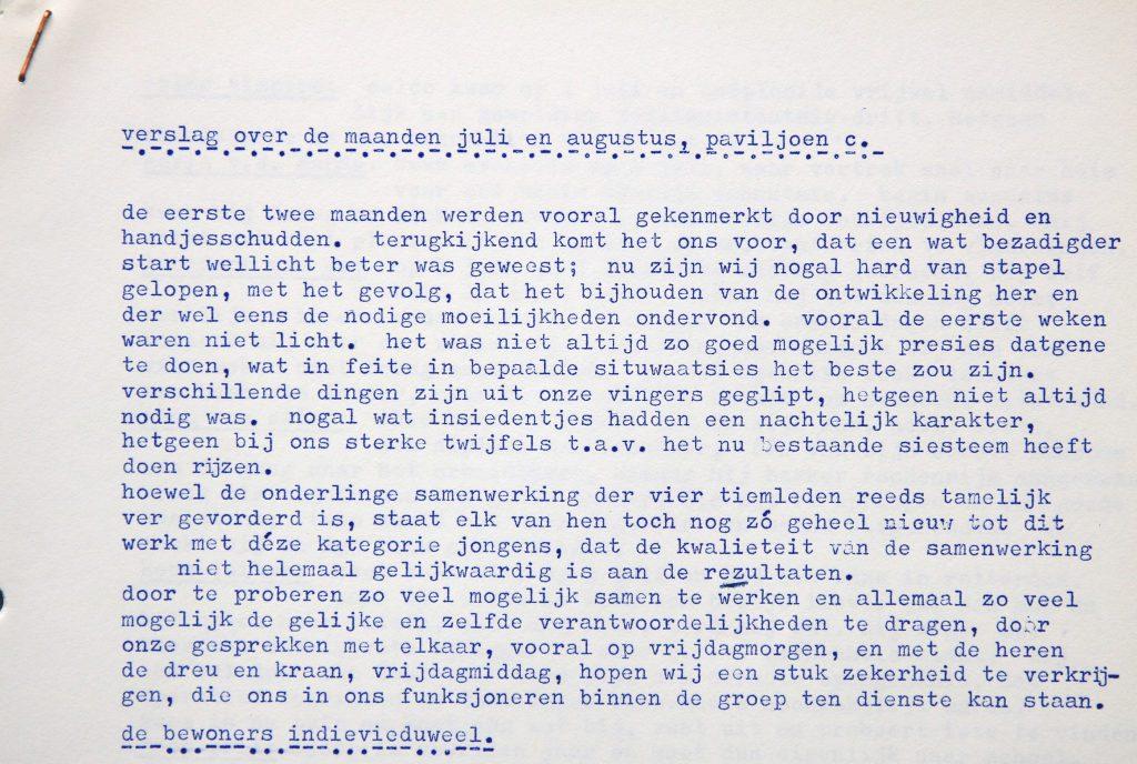 Maandverslag paviljoen C in het Tehuis voor Werkende Jongens, juli-augustus 1971 (Archief 201, inv.nr 1183)