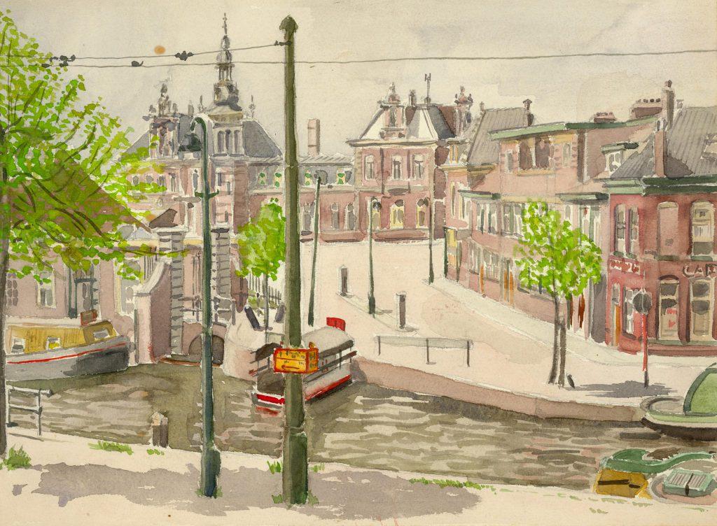 Arthur Tutein Nolthenius, Aquarel van het station aan de Van Leeuwenhoeksingel, ca. 1950 (TMS 2151)