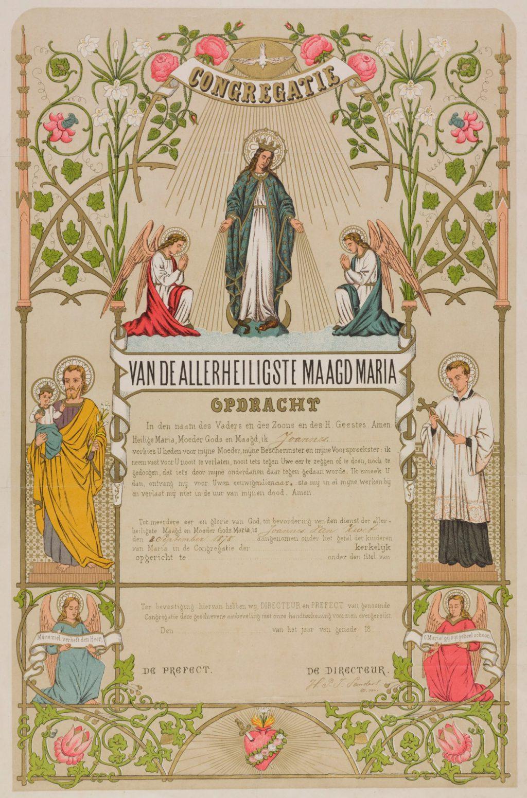 Toelatingsoorkonde tot de Congregatie van R.K. Jongelingen van Joannes van Zwet, 1878 (TMS 74651)