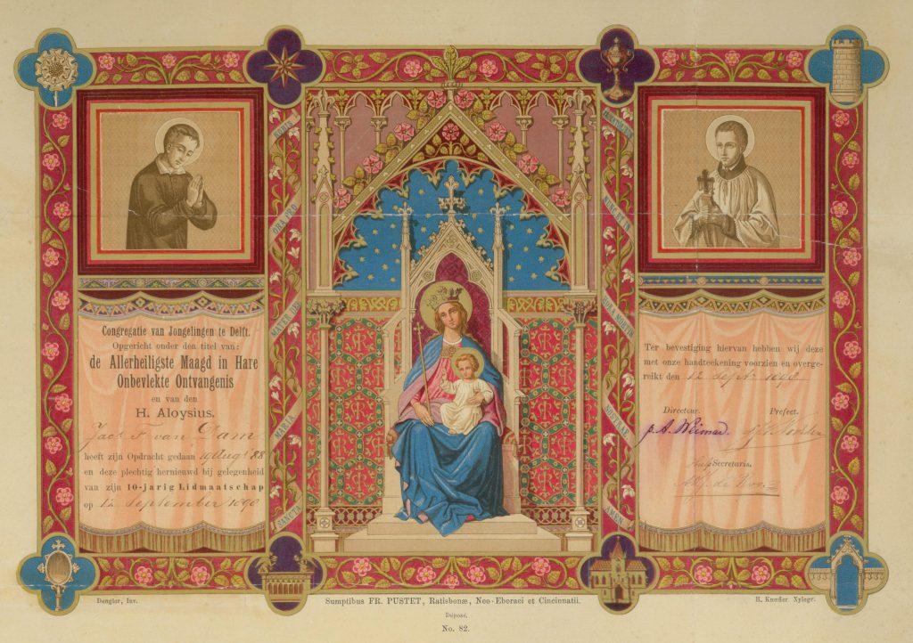 Oorkonde gemaakt door Heinrich H. Knoefler, voor Jac. F. van Dam die tien jaar lid is van de Congregatie van R.K. Jongelingen, 1898 (TMS 91596)