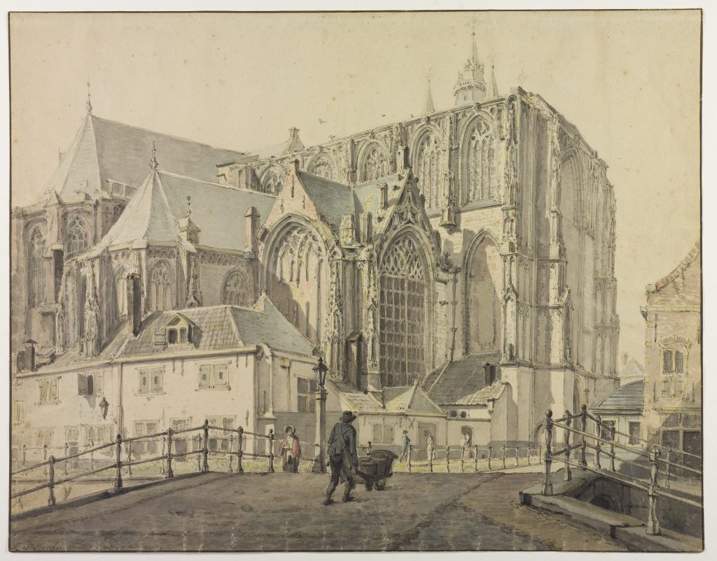 De noordelijke dwarsbeuk van de Oude Kerk. Johannes Jelgerhuis, 1819 (TMS 64819)