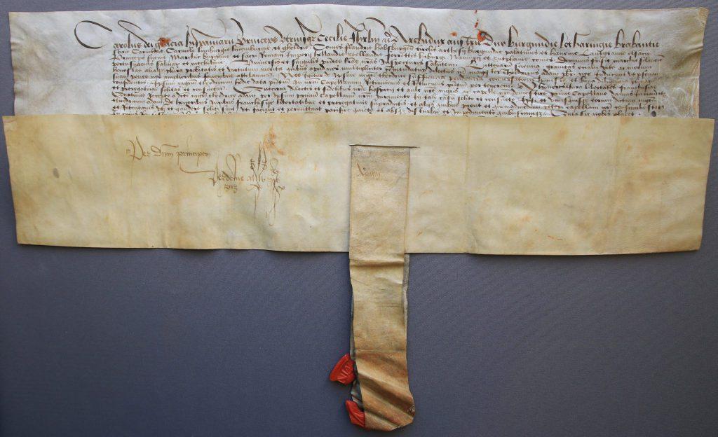 Oorkonde waarin Dirck Adamszoon van der Burch wordt benoemd tot hofkapelaan, 1515 (Archief 444, inv.nr 81, charter 6805)