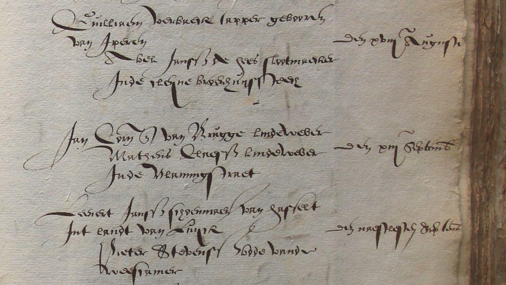 Bladzijde uit een rekening van de secretarie met betaling van poortergeld, 1594 (Archief 1, inv.nr 733)