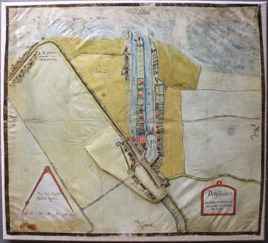 Kaart van Delfshaven door Jan Potter, met ontwerpen voor verdedigingswerken, vermoedelijk 1573 (Archief 1, inv.nr 4202)