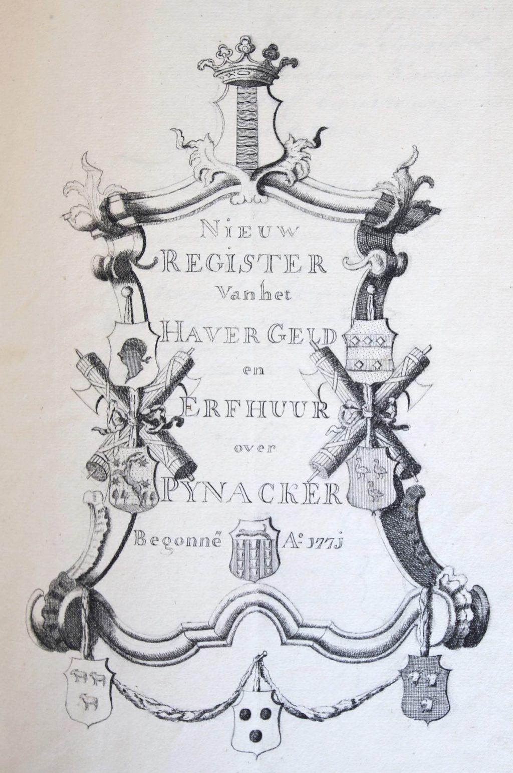 Titelpagina van het register van de haverpacht en de erfhuur van Pijnacker, 1771 (Archief 1, inv.nr 1173)