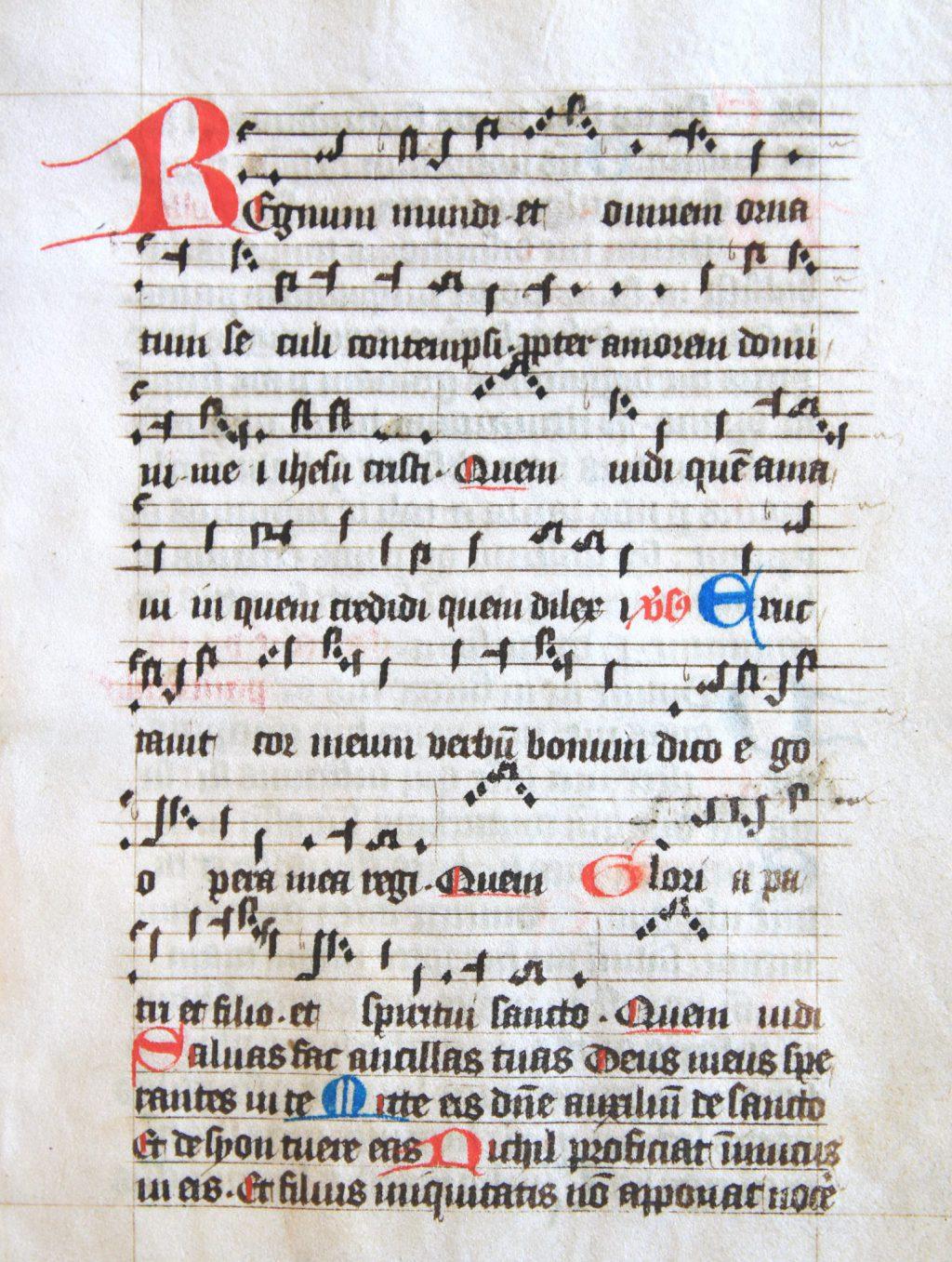 Het lied Regnum mundi in een handschrift uit het Sint-Agathaklooster, vijftiende eeuw (Archief 598, inv.nr 574)