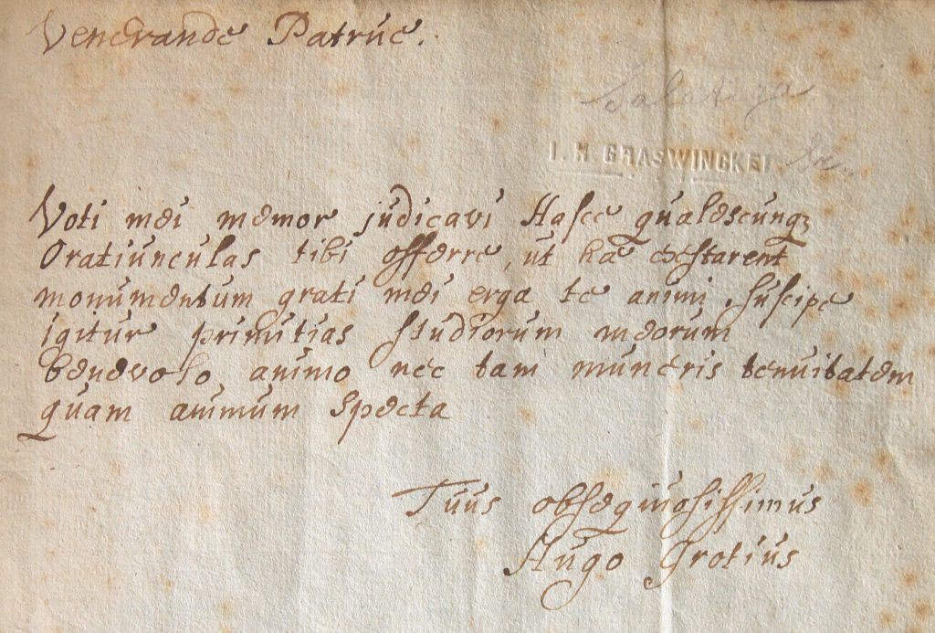 De opdracht van de oratie door Hugo aan zijn eerwaardige oom (venerande patrue) (Archief 598, inv.nr 596)