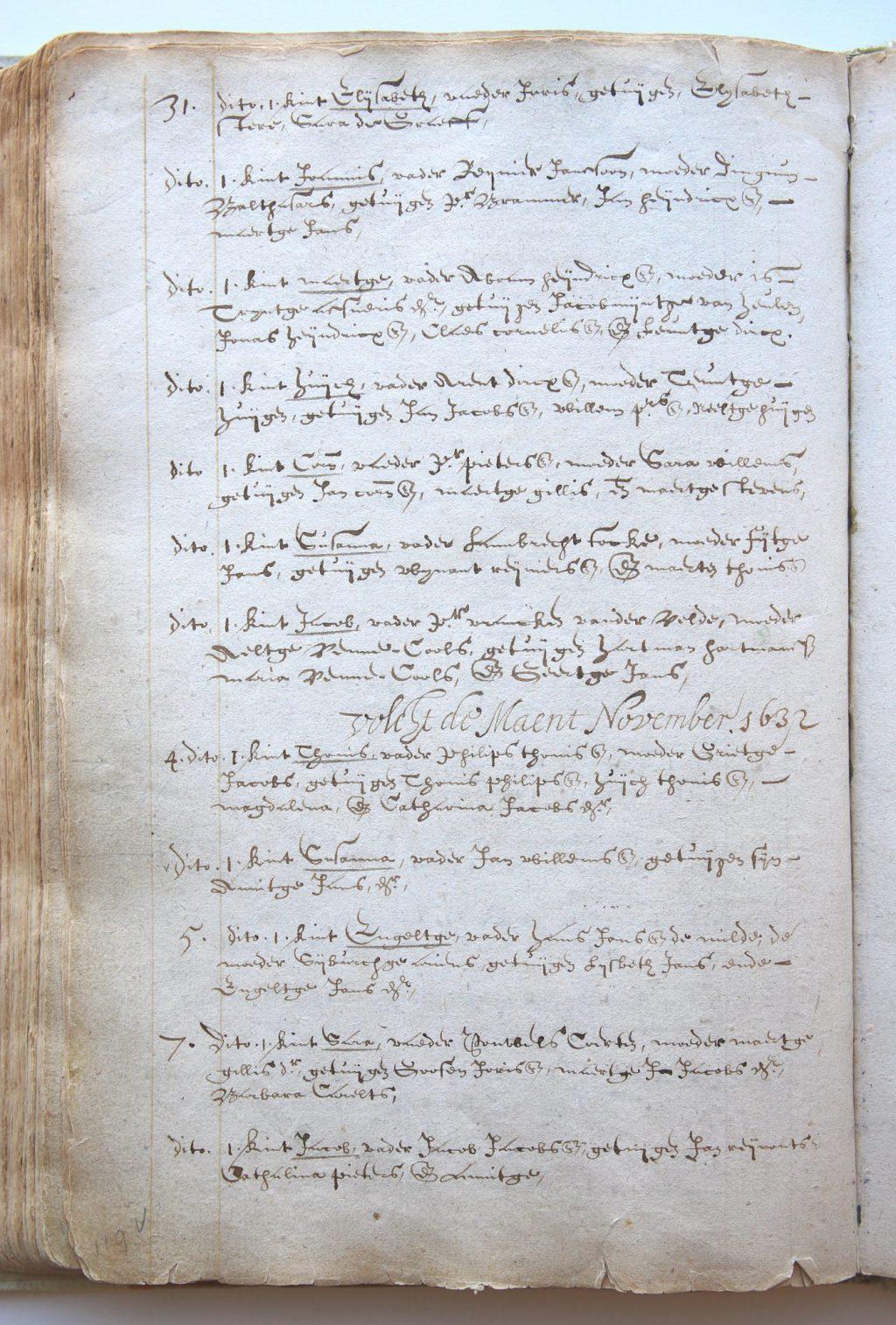 Bladzijde uit het doopboek van de Nieuwe Kerk met Johannes Vermeer en Antoni van Leeuwenhoek (Archief 14, inv.nr 55 f. 119v)