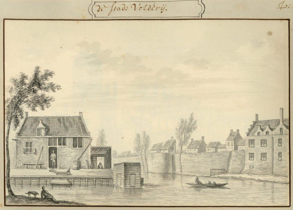 Stadsvolderij buiten de Oostpoort op een achttiende-eeuwse tekening (TMS 5723)