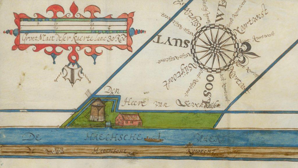 De volmolen aan de Vliet op een kaart van Johan van Beest, 1632 (Archief 1, inv.nr 1049; TMS 65715)