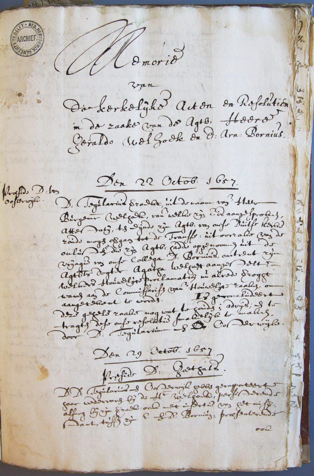 Pagina uit het kerkenraadsdossier over het geschil Welhoeck-Bornius (Archief 445, inv.nr 580)