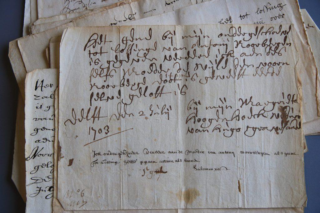 Verklaringen van Margrieta Hoogenhoeck en Salomon Post dat zij het door hen toegezegde bedrag schenken aan Lijsbeth (Archief 1, inv.nr 2074)