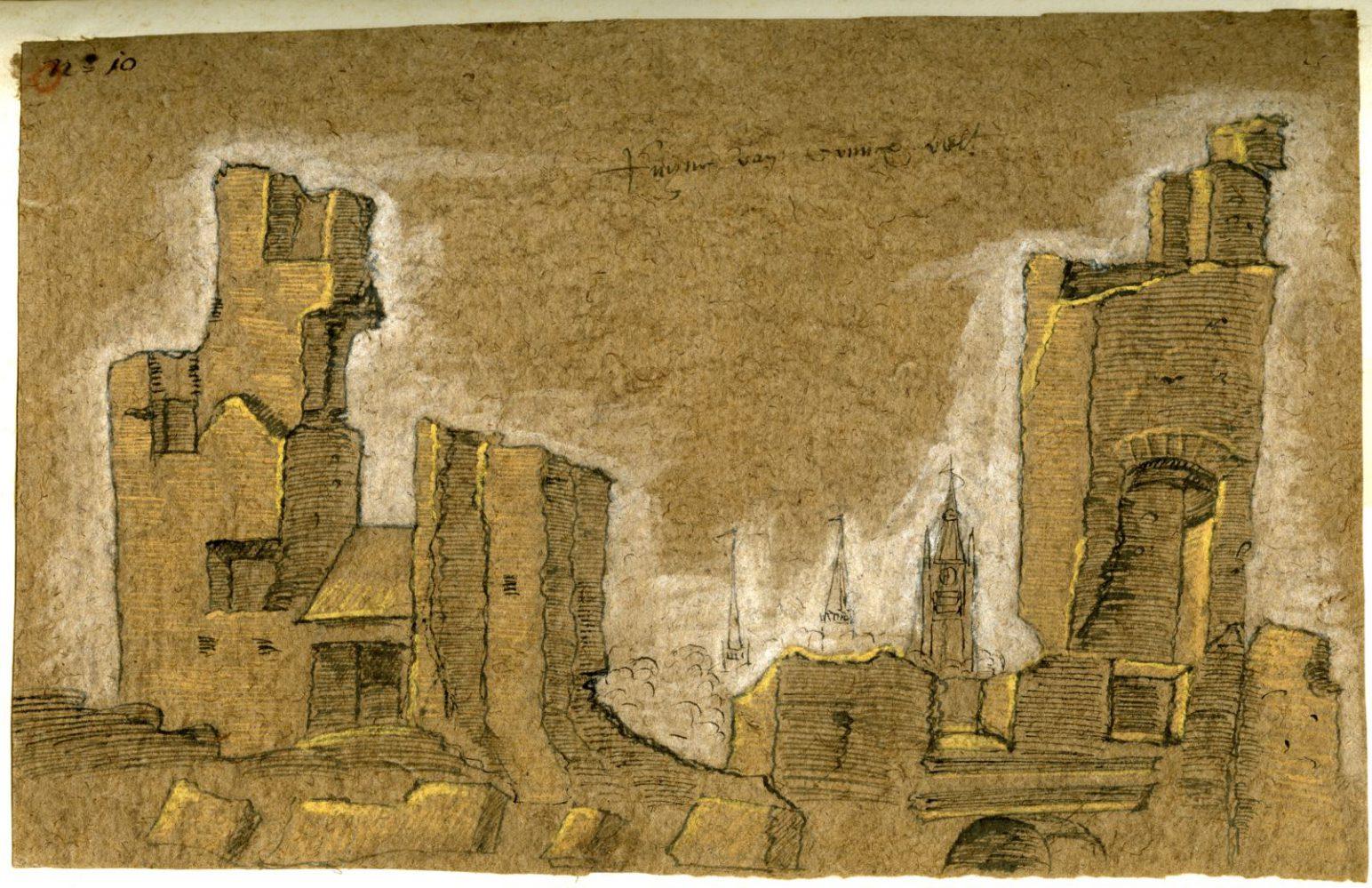Ruïne van klooster Koningsveld, tekening op vlaspapier, ca. 1573