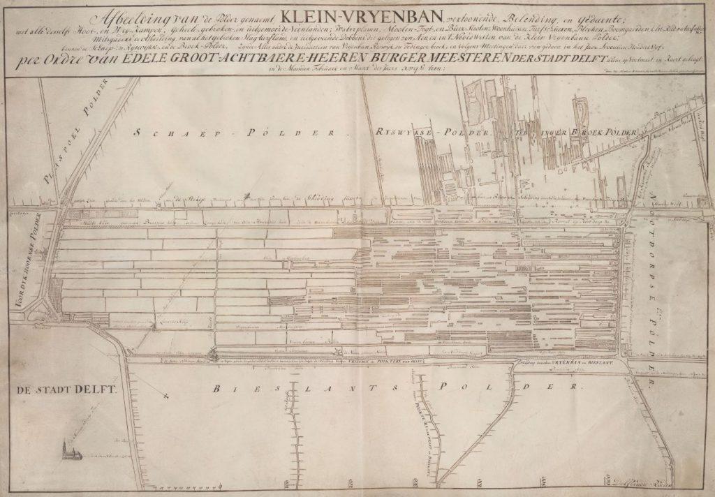 Kaart van de Klein-Vrijenbanse Polder door Nicolaas Kruikius, 1710 (TMS 123008)