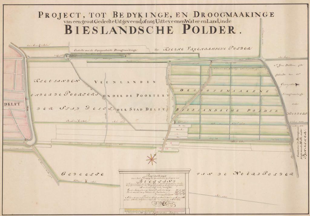 Kaart van de Bieslandse Polder door Cornelis de Graat, 1774 (TMS 123010)